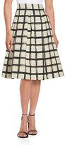 Eliza J Grid-Print A-Line Skirt