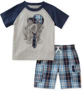 Kids Headquarters 2-Pc. Graphic-Print T-Shirt & Plaid-Print Shorts Set, Baby Boys