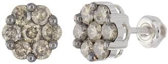 Overstock 10k White Gold 1.30ctw Champagne Diamond Cluster Stud Earrings