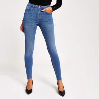 River Island Womens Bright Blue Amelie mid rise skinny jeans