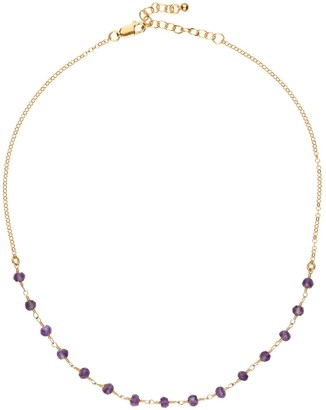Amadeus Luna Short Gold Chain Necklace With Amethyst Gemstones