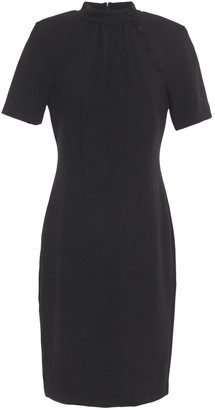 Badgley Mischka Button-embellished Textured-crepe Dress
