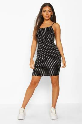 boohoo Polka Dot Strappy Jersey Bodycon Dress