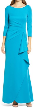 Eliza J Techno Pleated Scuba Trumpet Gown