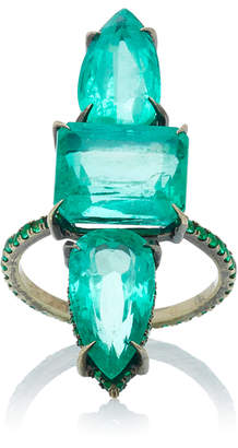 Lorraine Schwartz One-Of-A-Kind 18K Black Gold Emerald Three Stone Ring