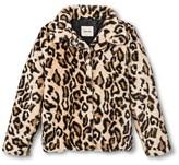 Cherokee Girls' Faux Fur Fashion Overcoat Leopard XL