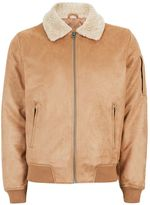 Topman Stone Faux Suede Flight Jacket
