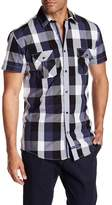 English Laundry Short Sleeve Plaid Print Regular Fit Woven Shirt