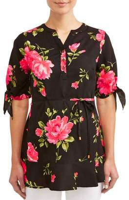 Oh! MammaMaternity knotted sleeve belted floral top - available in plus sizes