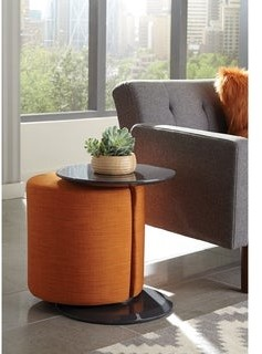 Porch & Den Springfield Pedestal Accent Table with Ottoman