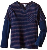 Splendid Littles Indigo Twofer Crew with Raw Edge Neck (Little Kids/Big Kids)