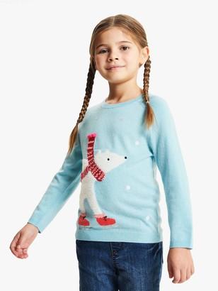 John Lewis & Partners Girls' Fluffy Polar Bear Jumper, Blue Haze