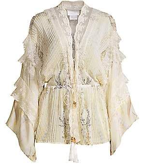 Camilla Women's Mother Tie-Front Lace Tiered Silk Kimono Blouse