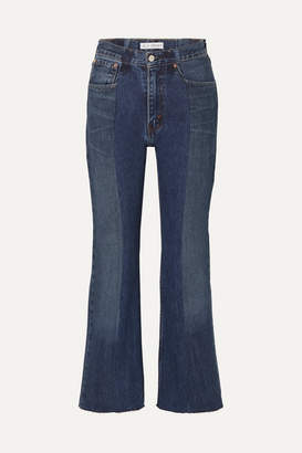 E.L.V. Denim - + Net Sustain The Twin Cropped Two-tone Distressed High-rise Flared Jeans - Mid denim