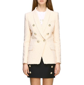 Balmain Blazer Double-breasted Tweed Jacket With Jewel Buttons