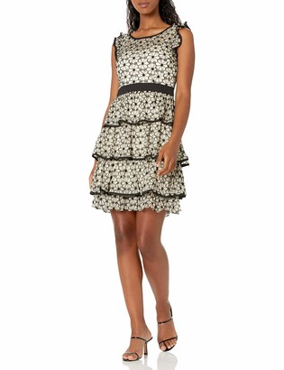 Minuet Women's Floral Embroidery Dress with Tiered Skirt