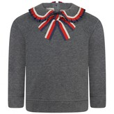 Gucci GUCCIBaby Girls Grey Sweatshirt With Striped Collar