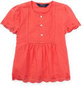 Ralph Lauren Short-Sleeve Cotton Batiste Top, Orange, Size 2T-4T