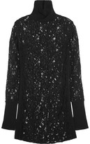By Malene Birger Montezza Knit-Paneled Guipure Lace Turtleneck Top