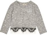 River Island Mini girls grey marl lace trim top