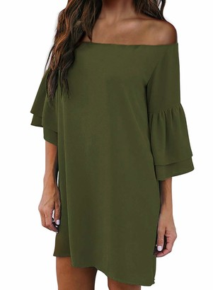 LOSRLY Womens Off The Shoulder Bell Sleeve Solid Color Casual Loose Shift Dress Above The Knee