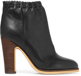 See by Chloe Scalloped Textured-leather Ankle Boots - Black