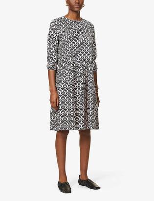 S Max Mara Minorca geometric-print silk-satin midi dress