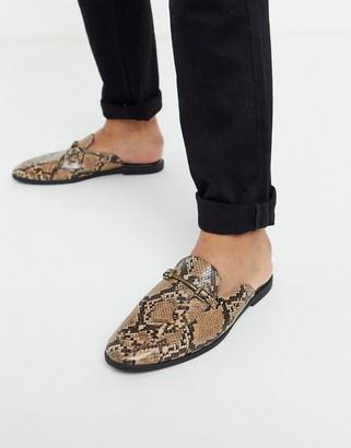 Asos Design DESIGN backless mule loafer in brown snake faux leather