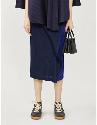 Pleats Please Issey Miyake Pleated woven crepe skirt