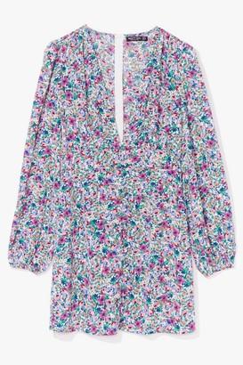 Nasty Gal Womens floral balloon sleeve button down mini dress - White