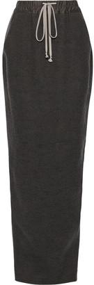 Rick Owens Pillar Brushed Camel And Linen-blend Maxi Skirt