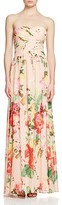 JS Collections Strapless Floral Gown