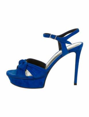 Saint Laurent Tribute Suede Sandals Blue