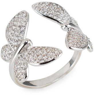 Cz By Kenneth Jay Lane Silvertone & Cubic Zirconia Pave Butterfly Ring