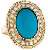 Ring 14K Turquoise & Diamond Cocktail