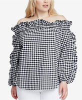 Rachel Roy Trendy Plus Size Gingham Off-The-Shoulder Top