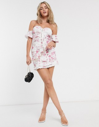 For Love & Lemons Mills Ruched Mini Dress