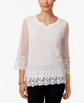Alfred Dunner Petite Lace It Up Cotton Crochet Tunic