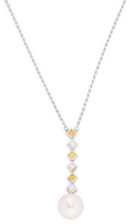 18K White Gold Diamond and Pearl Rope Necklace