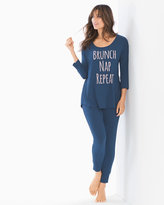 Soma Intimates Relaxed Fit Pajama Set Brunch Graphic Ink Blue