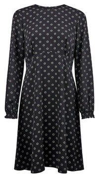 Dorothy Perkins Womens Black Empire Geometric Print Pleat Dress, Black