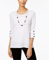 Alfred Dunner Lace It Up Collection Detachable-Necklace Top