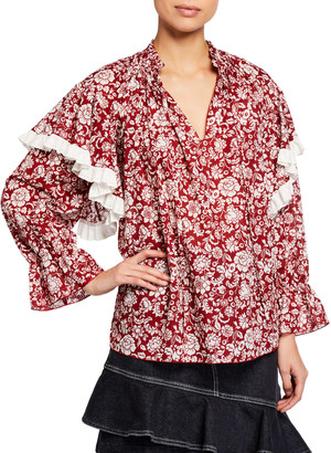 See by Chloe Peony Print Long-Sleeve Cotton Blouse