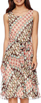 Robbie Bee Sleeveless Print Fit-and-Flare Dress