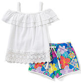 Rare Editions Baby Girls 12-24 Months Cold-Shoulder Crocheted Gauze Top & Floral-Printed Short Set