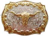 JEAN'S FRIEND JEAN'S FRINED Double Plated Color Long Horn Bull Western Belt Buckle