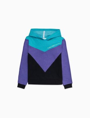Calvin Klein Big Girls Performance Tri-Colorblock Hooded Sweatshirt