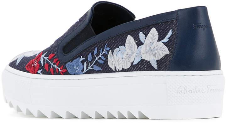 Salvatore Ferragamo embroidered denim slip-on sneakers