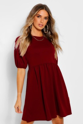 boohoo Puff Sleeve Smock Dress