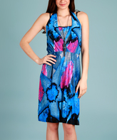 Blue & Pink Abstract Layered Dress